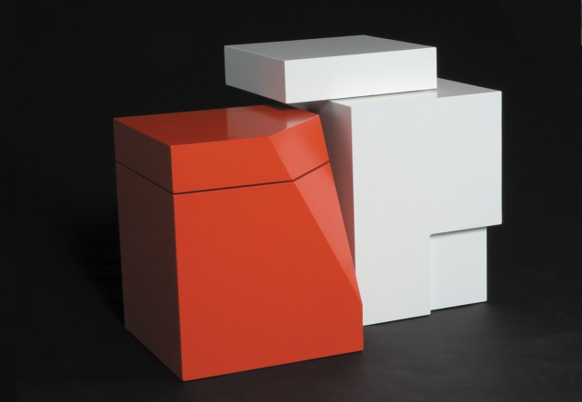 Contemporary accent tables that are part of the BigLittle Series by Ironwood Industries. Tables are built of formaldehyde-free mdf and finished with low VOC catalyzed lacquer. One table is rose red, and the other table is stark white. Very sculptural. And the tops of each table rotate 360 degrees so that these tables have nearly infinite possibilities in terms of how they look.
