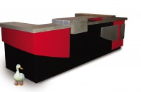 Contemporary reception desk built with mdf, steel, concrete, and aluminum. Colors are red and black and natural concrete and natural aluminum. Very European looking. Built for Europeans, in fact. Duck not included.