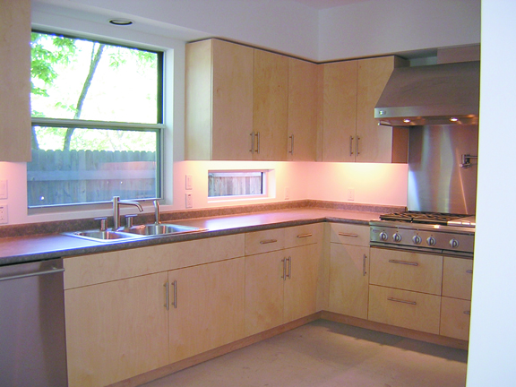Another view of a contemporary kitchen built with baltic birch